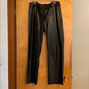 Ladies black leather pants size 10.